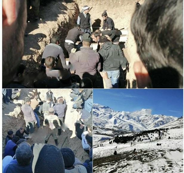 مراسم تدفین ۵ کولبر در روستای کوران - آذربایجان غربی (عکس)