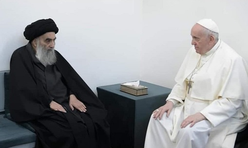 پایان دیدار تاریخی آیتالله سیستانی و پاپ/ پاپ نجف را ترک کرد