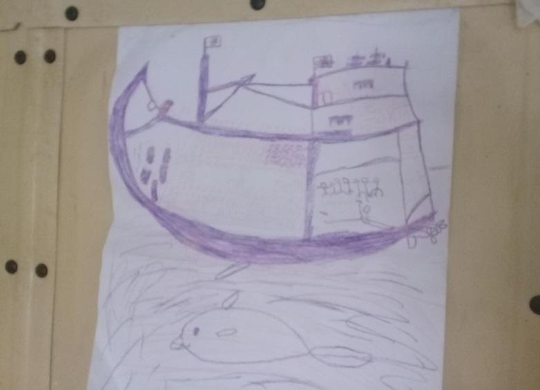 نقاشی کودک روهینگیا مسافر قاجاق یک قایق