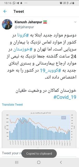 طغیان کرونا در خوزستان