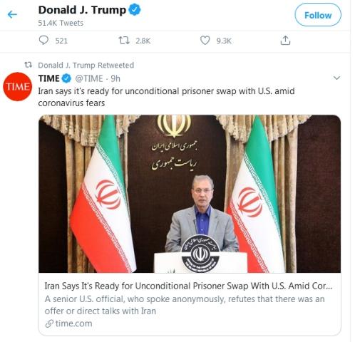 توییت ترامپ درباره مبادله زندانیان با ایران (+عکس)