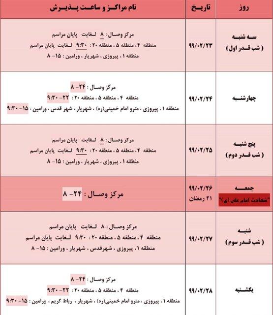 اعلام مراکز فعال اهدای خون پایتخت در شبهای قدر