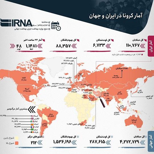 اینفوگرافیک/ آمار کرونا در ایران و جهان (۱۳۹۹/۰۲/۲۳)