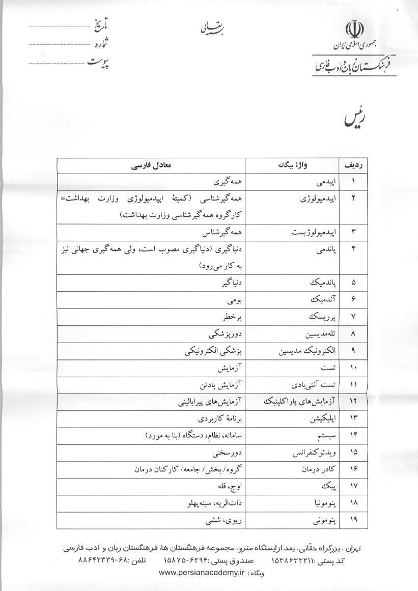 نامه حدادعادل به روحانی برای کاربرد معادل فارسی لغات بیگانه در حوزه سلامت