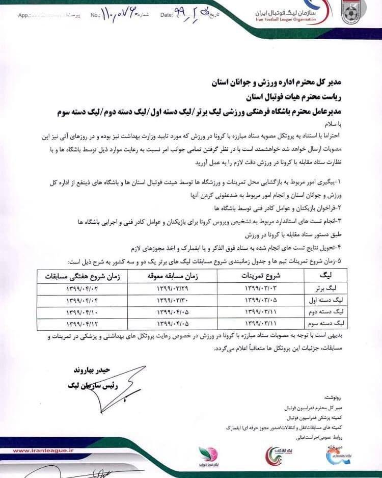 29 خرداد، آغاز رسمی فوتبال در ایران/  استقلال - فولاد اولین بازی بعد از کرونا