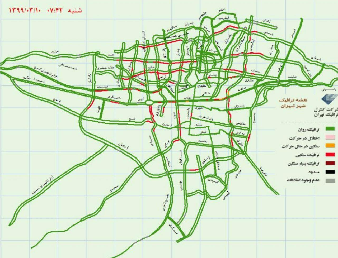ترافیک سنگین در تهران در نخستین روز آغاز مجدد کسب و کار