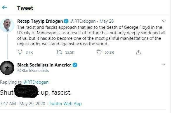 جواب سوسیالیستهای سیاهپوست آمریکا به توییت اردوغان درباره وقایع آمریکا: خفه شو
