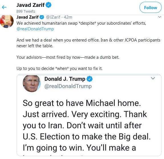 ترامپ: تشکر از ایران/ من در انتخابات برنده خواهم شد/ ایران صبر نکند از همین حالا  با من مذاکره کند+جواب ظریف