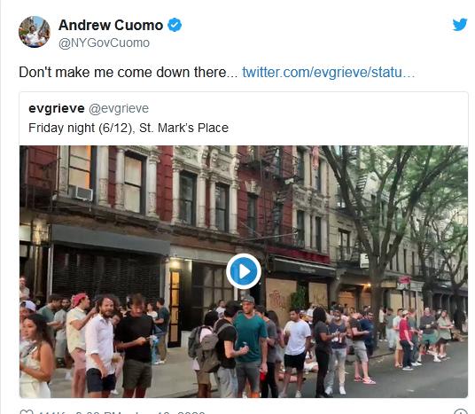عصبانیت فرماندار نیویورک ازصف شلوغ مردم جلوی مِیخانهها: کاری نکنید مجبور شوم خودم به آنجا بیایم