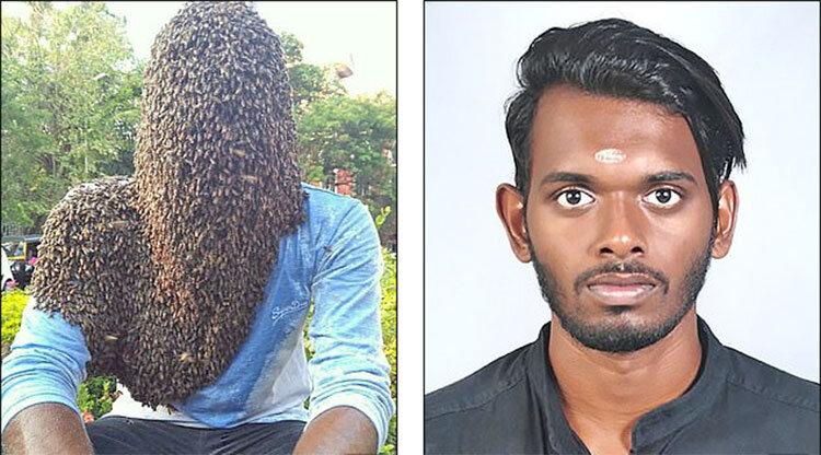 مرد هندی با 60 هزار زنبور روی سر و صورت (+عکس)