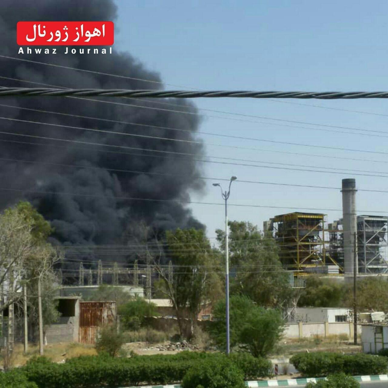 آتشسوزی در نیروگاه زرگان اهواز (+فیلم)