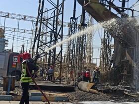مهار آتش در نیروگاه مدحج اهواز / انفجار ترانس گازی، علت آتشسوزی