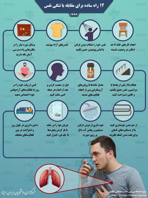 ۱۲ راه ساده برای مقابله با تنگی نفس (اینفوگرافیک)