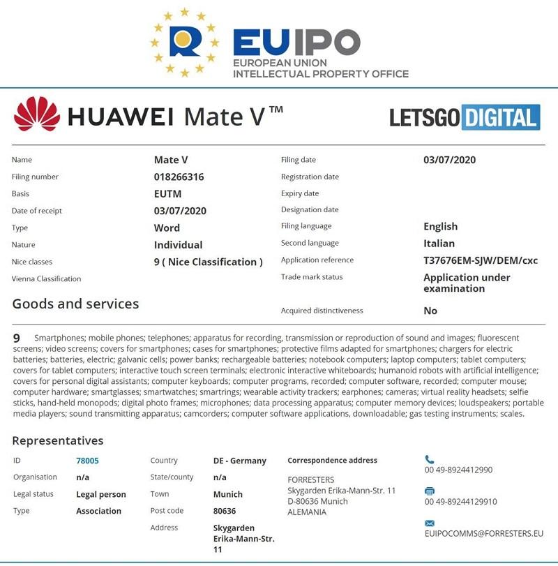 هوآوی نشان تجاری Mate V را ثبت کرد