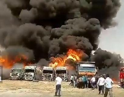 آتش سوزی گسترده در شهرک