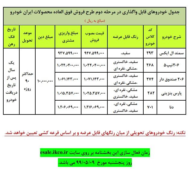 آغاز مرحله دوم فروش فوق العاده ایران خودرو  با عرضه 5 محصول پر متقاضی به مدت 3 روز (+جدول فروش)