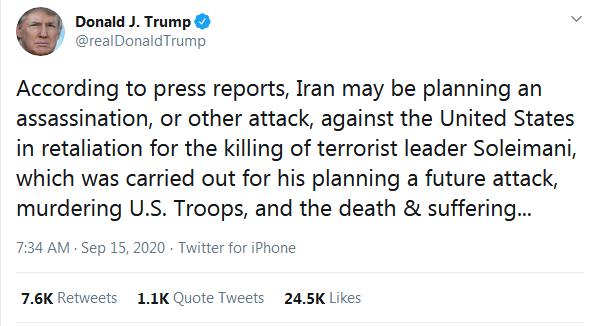 ترامپ: هرگونه حمله ایران را هزار برابر پاسخ میدهیم