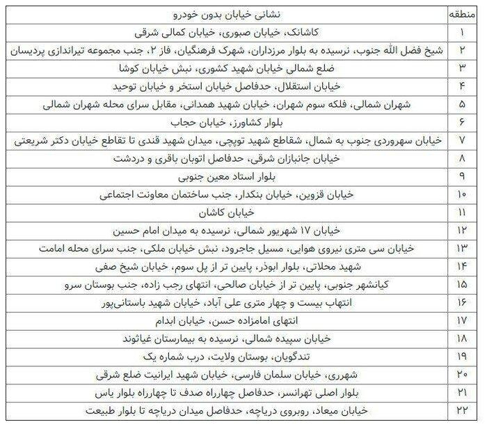 اعلام ممنوعیت تردد خودروها در برخی خیابانهای تهران برای اول مهر