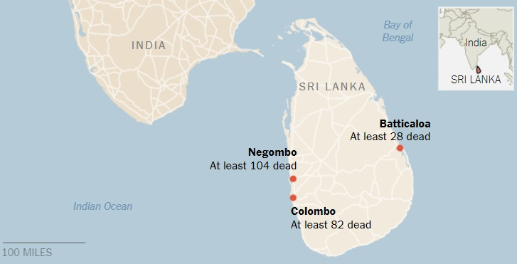 نقشه سریلانکا د رنزدیکی هند