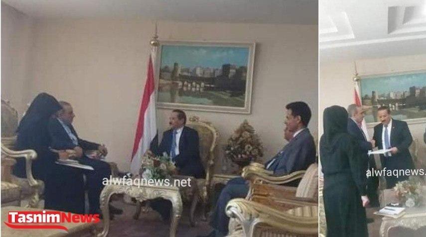 سفیر جدید ایران، رونوشت استوارنامه خود را تسلیم وزیر خارجه یمن کرد (عکس)