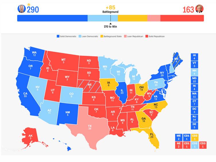 آخرین وضعیت رقابت ترامپ و بایدن (+نقشه)