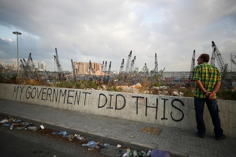 تصویری پس از تظاهرات انفجار بزرگ بیروت