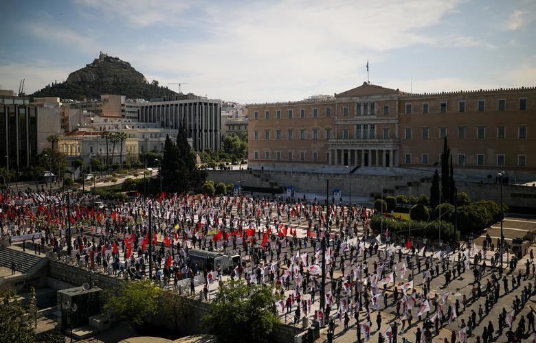 تظاهرات با فاصله اجتماعی در یونان