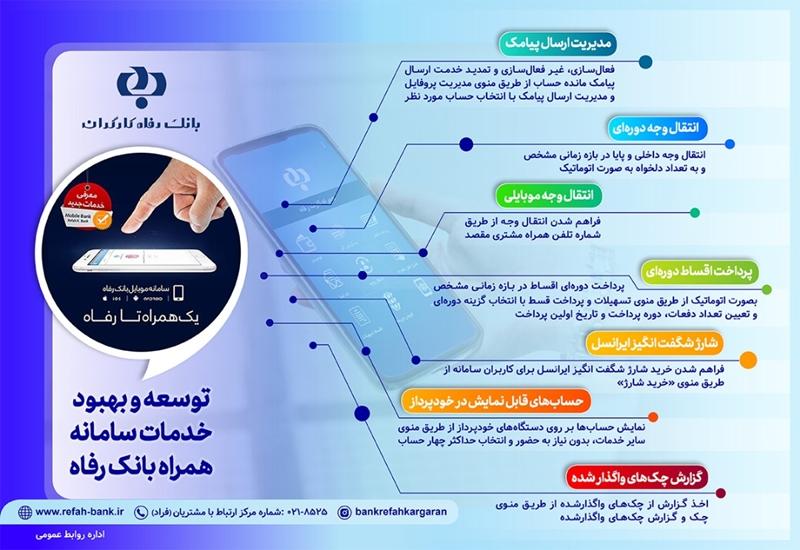 توسعه خدمات سامانه موبایل بانک رفاه کارگران (+اینفوگرافی)