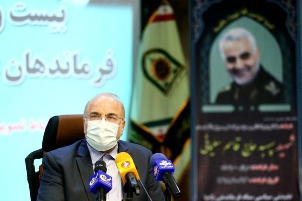 قالیباف: ابرقدرتها در مقابل اراده ملت ایران زانو میزنند، اما مردم در صف مرغ هستند
