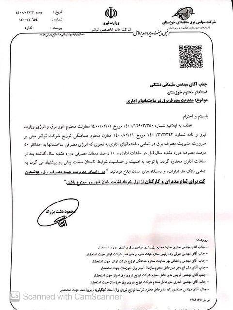 درخواست برق خوزستان: کارمندان کت نپوشند