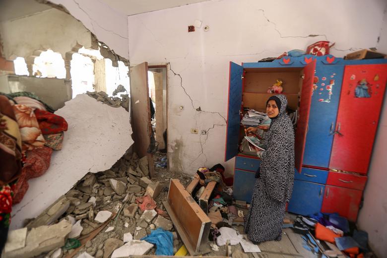 آوار خانه بر سر مردم غزه در جنگ با اسرائیل
