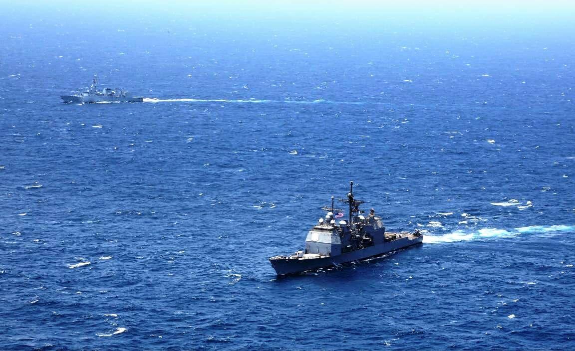 رزمایش مشترک نیروهای دریایی پاکستان و آمریکا در بندر کراچی