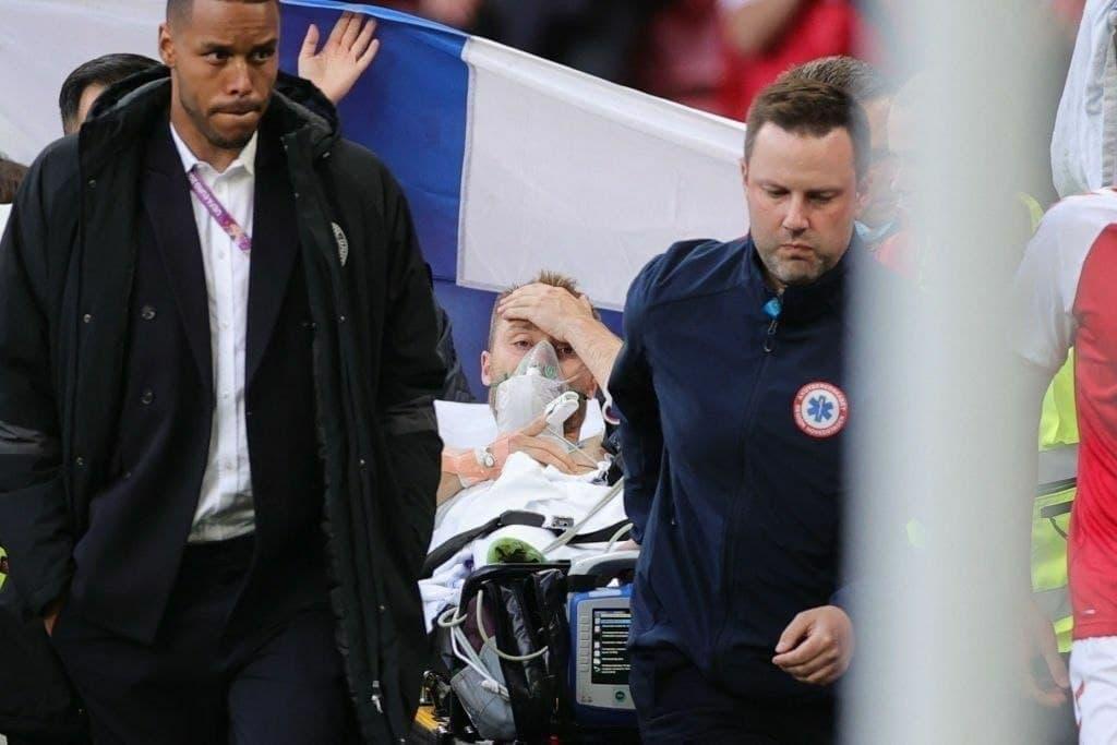توقف بازی دانمارک و فنلاند بخاطر مصدومیت شدید یک بازیکن