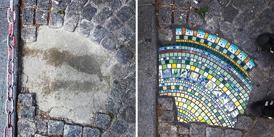 جراحی ترکها و چالههای شهر با سرامیکهای رنگارنگ!