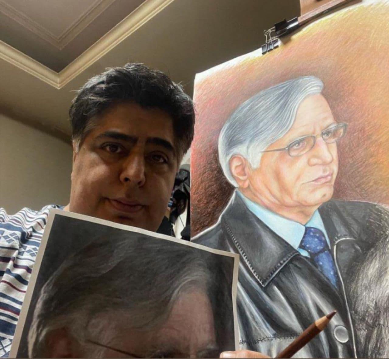 نقاشی زیبایی رضا شفیعی جم از پدرش (عکس)
