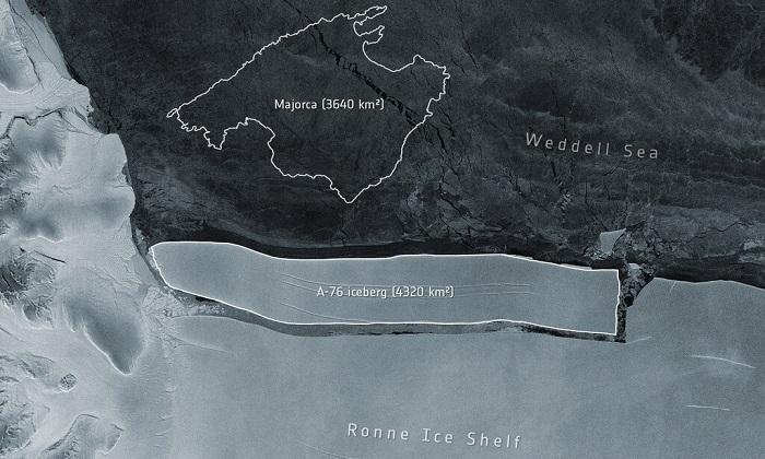 A-76؛ بزرگترین کوه یخ شناور جهان که از جنوبگان جدا شده است