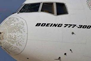 تگرگ بویینگ 777 را نابود کرد (عکس)