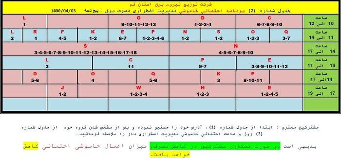 جدول خاموشی در قم/ سوم تیر ۱۴۰۰
