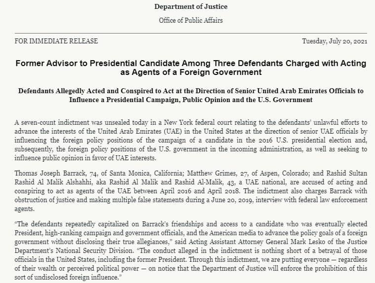 بازداشت دوست نزدیک ترامپ به اتهام لابی گری برای امارات
