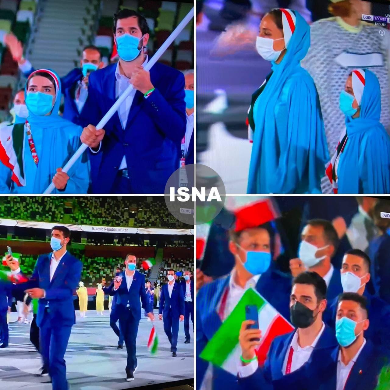 رژه کاروان ورزشی ایران در مراسم افتتاحیه المپیک 2020 (عکس و فیلم)