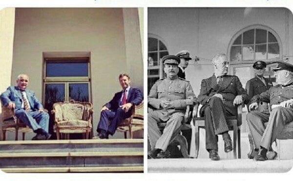 عکس شبیه سازی شدۀ سفیران روس و انگلیس؛ یادآور تحقیر اشغال یا پیمان با متفقین؟