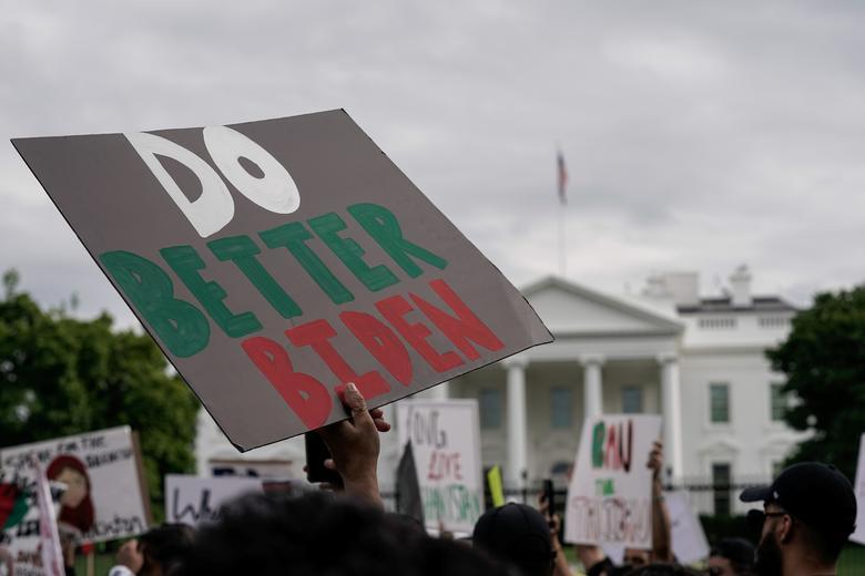 تظاهرات ضد طالبان در برابر کاخ سفید
