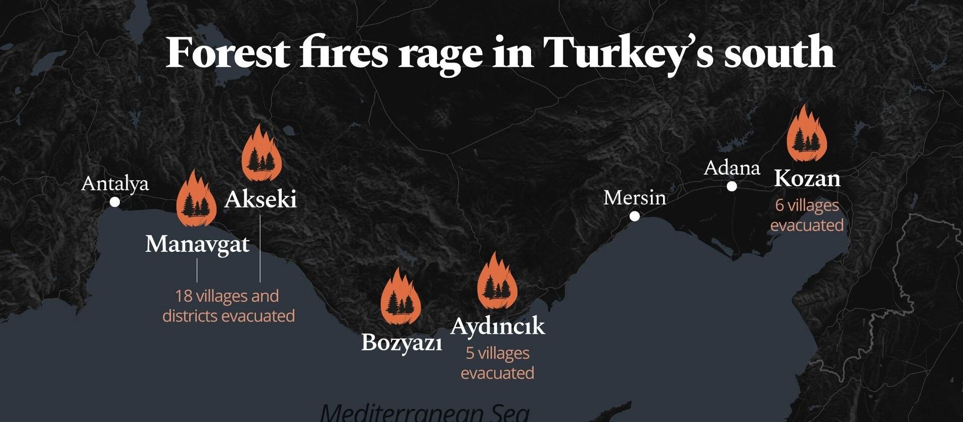 ایفوگراف آتش سوزی در مناطق ترکیه
