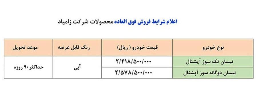 فروش بدون قرعه کشی نیسان تک سوز و دوگانه سوز آپشنال