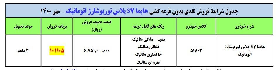 فروش فوقالعاده هایما S7 پلاس اتوماتیک بدون قرعه کشی (+قیمت و جدول فروش)