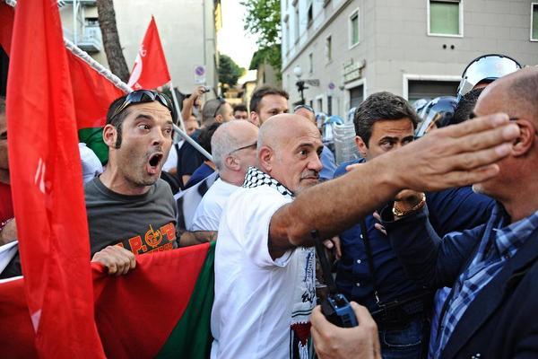راهپیمایی در مخالفت با سفر بنیامین نتانیاهو نخست وزیر اسراییل به ایتالیا- شهر فلورانس