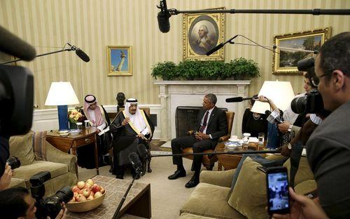 دیدار اوباما با پادشاه عربستان در کاخ سفید