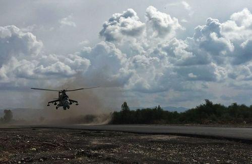 بالگرد تهاجمی می ـ 24 روسیه در فرودگاه نظامی