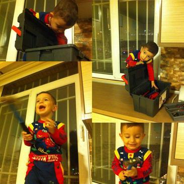 شادی کودک پس از پیدا کردن چکش اسباب بازی - مهیار