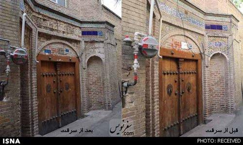 سرقت کاشیهای قاجاری حوزه علمیه حاج قنبرعلی خان کرد مافی